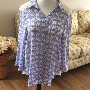 Periwinkle blue blouse with crocheted trim